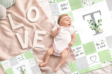 Load image into Gallery viewer, Monogrammed Baby Blanket (à la Patchwork) - Greenery Collection