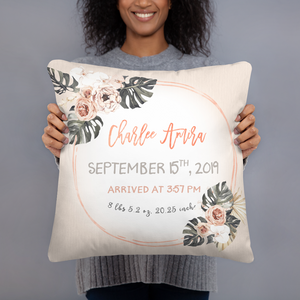 Birth announcement pillow - Modern Tropics Collection