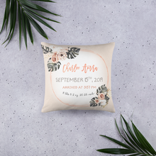 Load image into Gallery viewer, Birth announcement pillow - Modern Tropics Collection