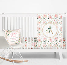 Load image into Gallery viewer, Birth announcement pillow - Blush Florals collection