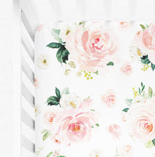 Load image into Gallery viewer, Floral crib sheet for baby girl - Blush Florals Collection