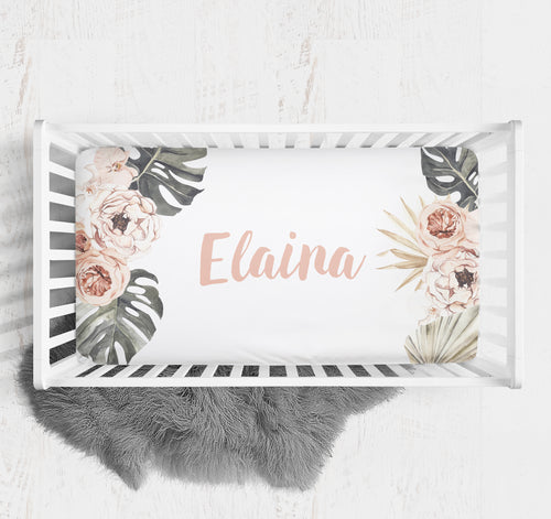 Custom crib sheet with name - Modern Tropics Collection