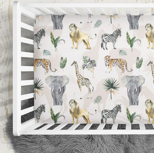 Safari theme crib sheet -Safari Animals Collection