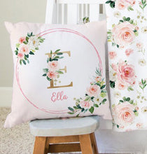 Load image into Gallery viewer, Monogram Pillow - Blush Florals collection