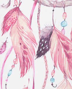 Custom crib sheet Dreamcatcher Collection (cherry-pink)
