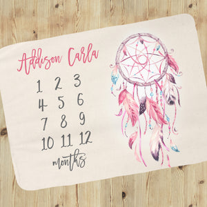 Milestone Baby Girl Blanket - Dreamcatcher Collection (cherry-pink)