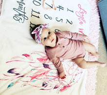 Load image into Gallery viewer, Milestone Baby Girl Blanket - Dreamcatcher Collection (cherry-pink)