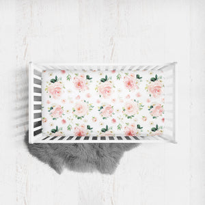 Floral crib sheet for baby girl - Blush Florals Collection