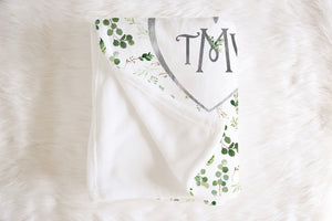 Monogrammed Baby Blanket - Greenery Collection
