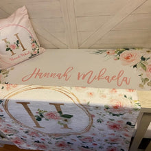 Load image into Gallery viewer, Custom crib sheet for baby girl - Blush Florals Collection
