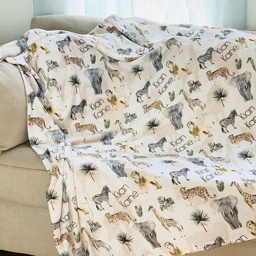 Swaddle personalized Baby Blanket - Safari Animals Collection