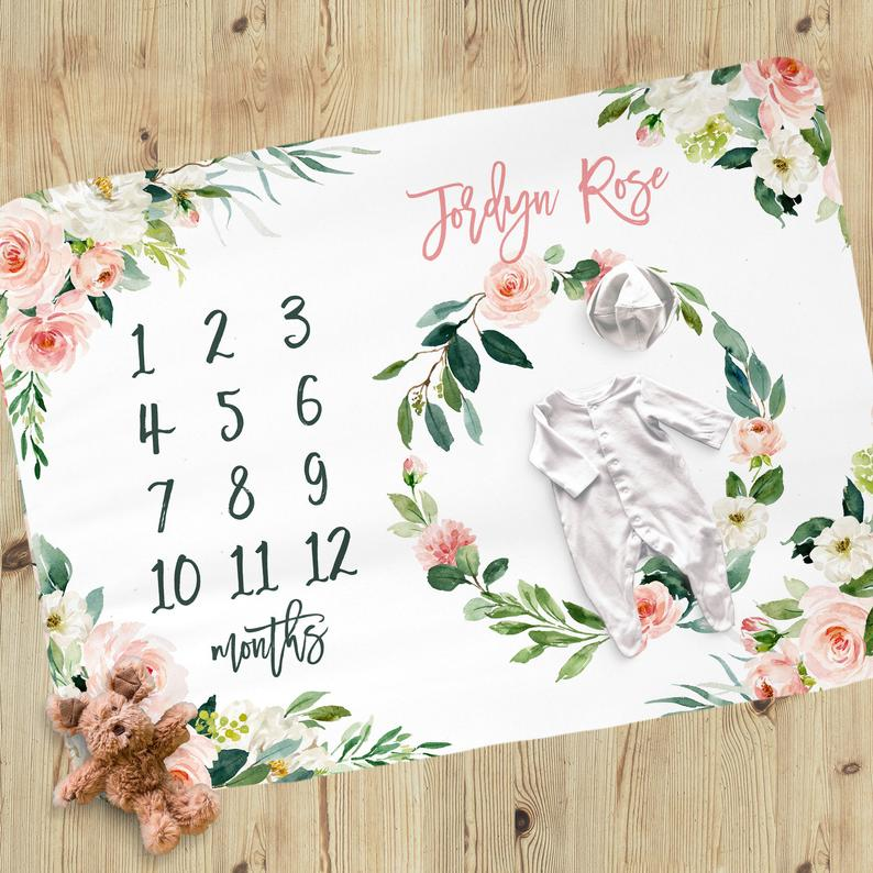 Milestone Baby Girl Blanket - Blush Florals Collection