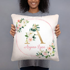 Monogram Pillow - Blush Florals collection