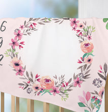 Load image into Gallery viewer, Floral milestone blanket for girl - Watercolor Spring Collection