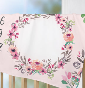 Floral milestone blanket for girl - Watercolor Spring Collection