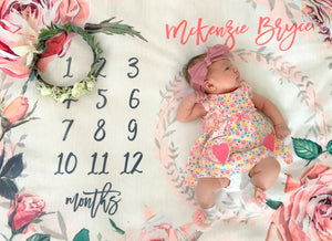 Milestone Blanket - Vintage Roses Collection