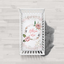 Load image into Gallery viewer, Custom crib sheet for baby girl - Vintage Roses collection