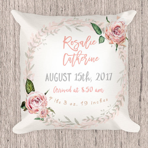 Birth Announcement Pillow for girl - Vintage Roses collection