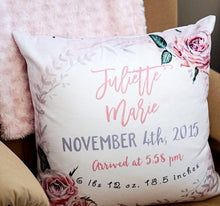 Load image into Gallery viewer, Birth Announcement Pillow for girl - Vintage Roses collection