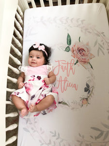 Custom crib sheet for baby girl - Vintage Roses collection