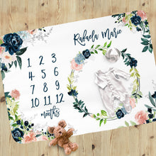 Load image into Gallery viewer, Blush and navy personalized Baby Girl Milestone Blanket - Moonlight Lullabies collection