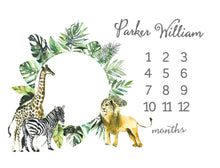 Load image into Gallery viewer, Milestone Baby Blanket - Safari Animals Collection