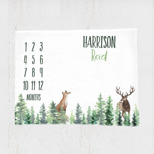 Woodland Milestone Baby Boy Blanket - Forest Animals collection