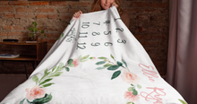 Load image into Gallery viewer, Milestone Baby Girl Blanket - Blush Florals Collection