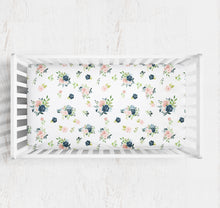 Load image into Gallery viewer, Blush and Navy Floral crib sheet- Moonlight Lullabies collection