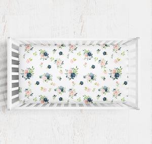 Blush and Navy Floral crib sheet- Moonlight Lullabies collection