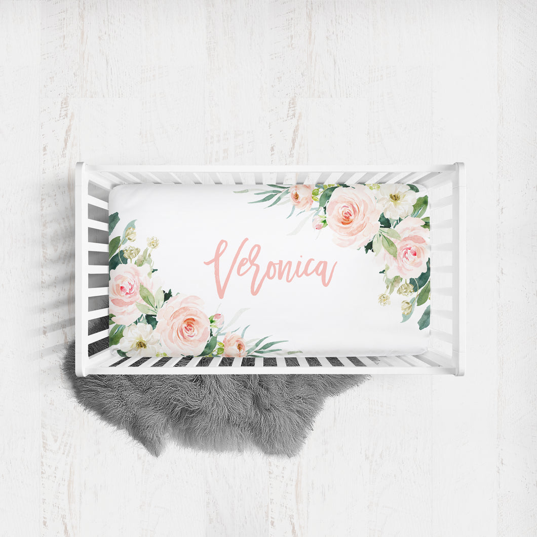 Custom crib sheet for baby girl - Blush Florals Collection