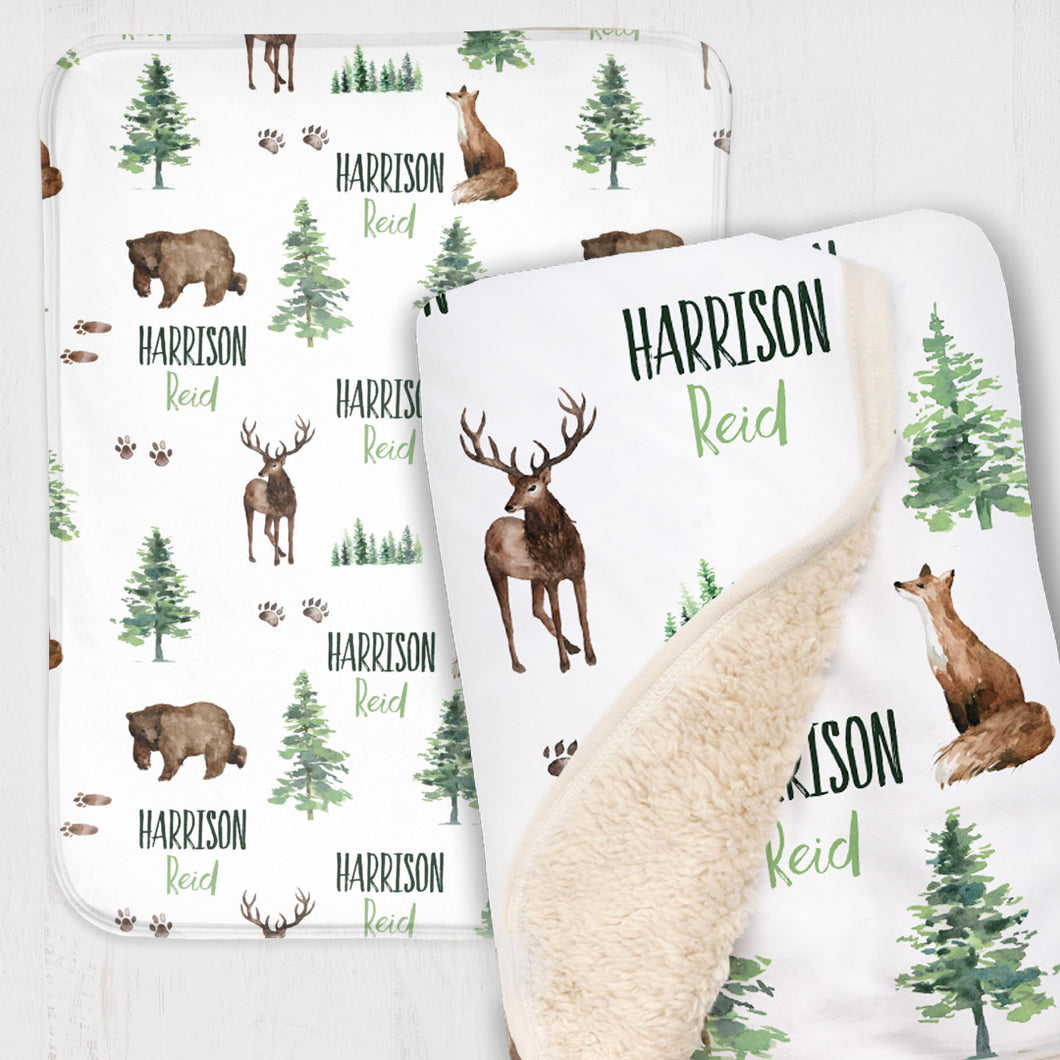 Personalized Baby Boy Blanket - Forest Animals collection