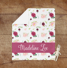 Load image into Gallery viewer, Personalized Baby Girl Blanket - Maroon Dream collection