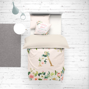 Custom Duvet Cover for girl - Blush Florals collection