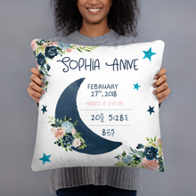 Load image into Gallery viewer, Baby stats  pillow - Moonlight Lullabies collection