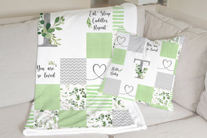 Monogrammed Baby Blanket (à la Patchwork) - Greenery Collection