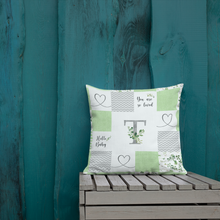 Load image into Gallery viewer, Monogrammed (à la Patchwork) pillow  - Greenery Collection