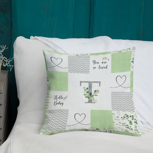 Monogrammed (à la Patchwork) pillow  - Greenery Collection