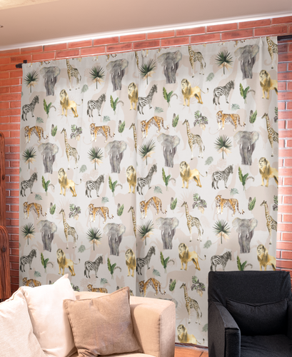 Nursery Curtains - Safari Animals Collection