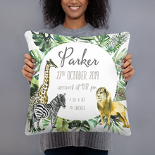 Load image into Gallery viewer, Birth announcement pillow - Safari Animals Collection