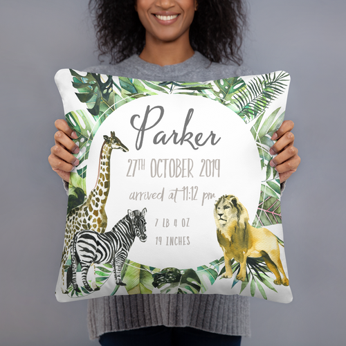 Birth announcement pillow - Safari Animals Collection