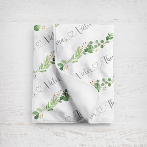 Swaddle personalized Baby Blanket - Greenery Collection