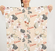 Load image into Gallery viewer, Swaddle personalized Baby Blanket - Modern Tropics Collection