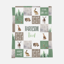 Load image into Gallery viewer, Personalized Baby Boy Blanket with a Name (à la Patchwork)- Forest Animals collection