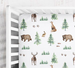 Woodland crib sheet- Forest Animals collection