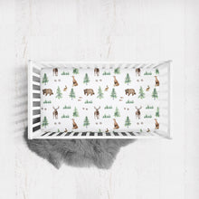Load image into Gallery viewer, Woodland crib sheet- Forest Animals collection