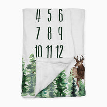 Load image into Gallery viewer, Woodland Milestone Baby Boy Blanket - Forest Animals collection