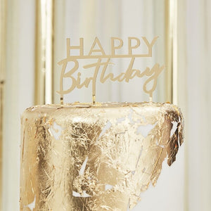 Happy Birthday Gold Cake Topper - The Pretty Prop Shop Parties, Auckland New Zealand