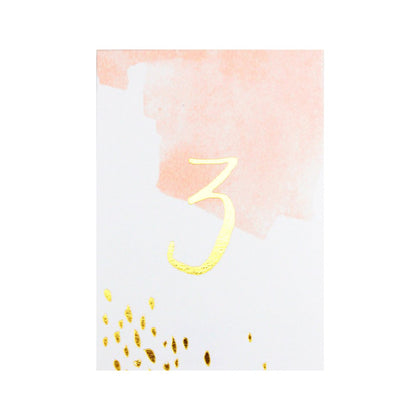 Daydream Watercolour Paper Table Numbers 1-10 - The Pretty Prop Shop Parties, Auckland New Zealand