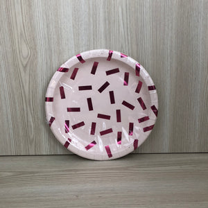 Metallic Pink Confetti Paper Plates - The Pretty Prop Shop Parties, Auckland New Zealand